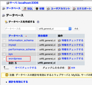 phpMyAdmin 新規データーベース