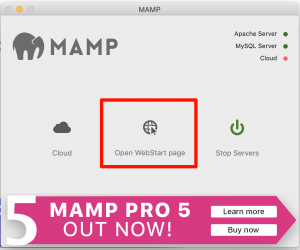 MAMP Open WebStart page