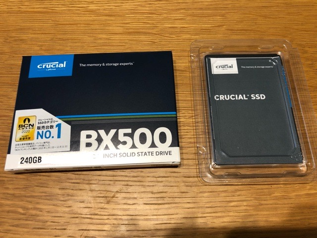 Crucial クルーシャル SSD 240GB 箱から出す